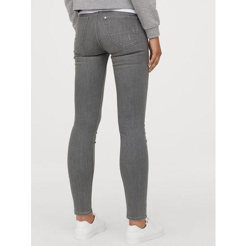 H&M Women Grey Solid Skinny Regular Jeans