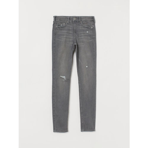 H&M Women Grey Solid Skinny Regular Jeans