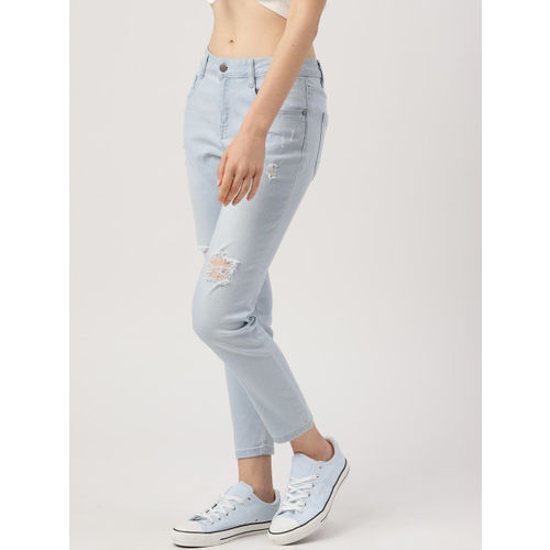 DressBerry Women Blue Skinny Fit Mid-Rise Highly Distressed Stretchable Cropped Jeans