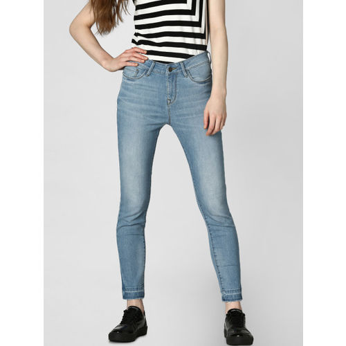 Vero Moda Women Blue Skinny Fit Mid-Rise Low Distress Stretchable Cropped Jeans