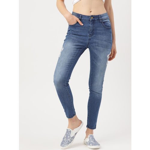 DressBerry Women Blue Skinny Fit Mid-Rise Mildly Distressed Stretchable Jeans