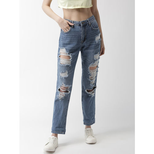 FOREVER 21 Women Blue Regular Fit Mid-Rise Highly Distressed Jeans