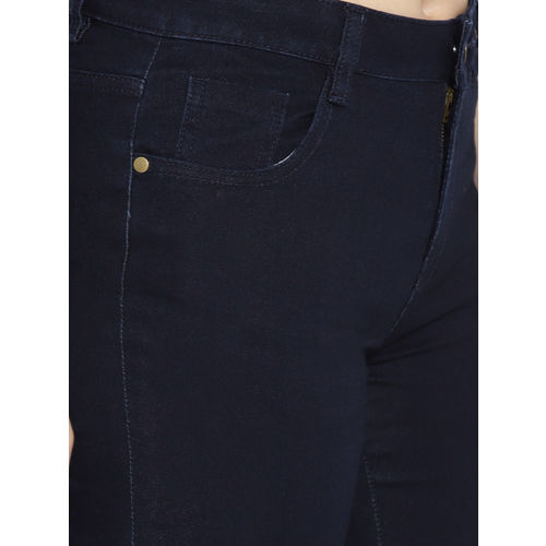 DressBerry Women Navy Blue Skinny Fit Mid-Rise Clean Look Stretchable Jeans