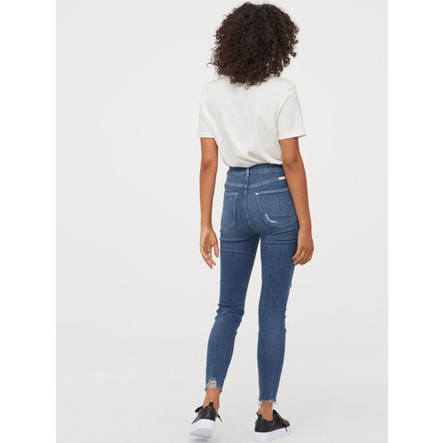 H&M Women Blue Super Skinny Embrace High Ankle Jeans