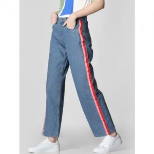 Vero Moda Women Blue Kathy High Rise Wide Leg Clean Look Jeans
