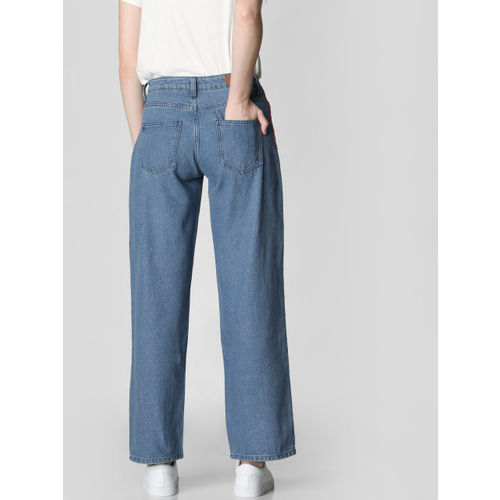Vero Moda Women Blue Kathy High Rise Wide Leg Clean Look Jeans