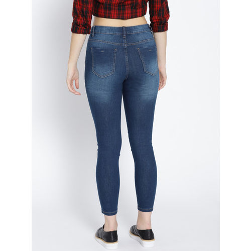 DressBerry Women Navy Blue Skinny Fit Clean Look Cropped Stretchable Jeans