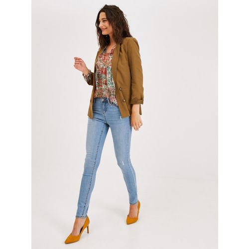 promod Women Blue Gaspard Skinny Fit Mid-Rise Low Distress Stretchable Jeans