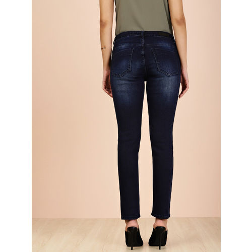 all about you from Deepika Padukone Women Blue Straight Fit Mid-Rise Low Distress Jeans