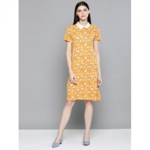 Chemistry Women Printed Mustard Yellow A-Line Dress