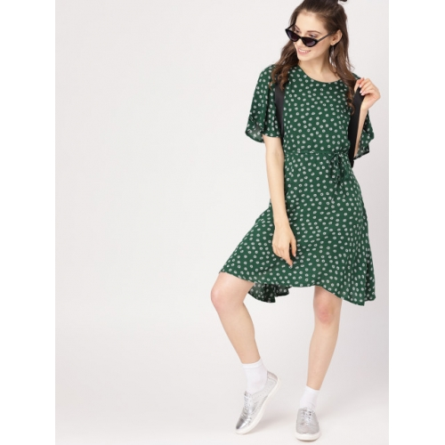 DressBerry Women Green & Off-White Printed A-Line Dress