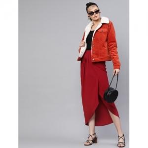 SASSAFRAS Maroon Solid Midi Wrap Skirt