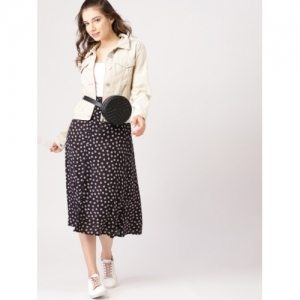 DressBerry Women Black & Off White Printed Midi A-Line Skirt