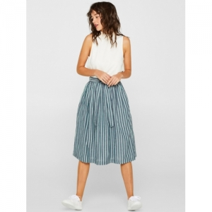 ESPRIT Women Blue & Off-White Striped Midi A-Line Skirt
