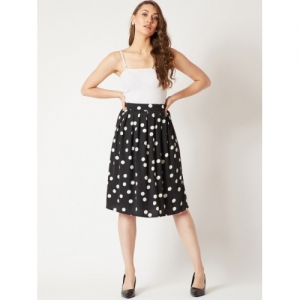 Miss Chase Women Black Polka-Dot Printed Flared Skirt