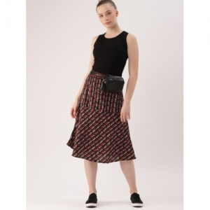 DressBerry Women Red & Black Printed A-Line Skirt