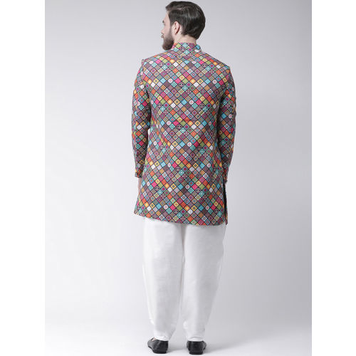 Hangup Men Multicoloured Printed Sherwani With Dhoti Pants