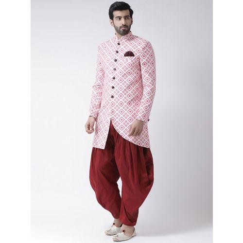 Hangup Men White & Pink Printed Sherwani