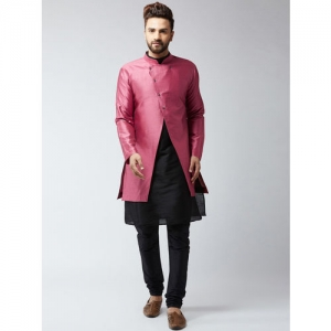 SOJANYA DEYAAN Men Pink & Black Silk Blend Self-Design Sherwani With Achkan