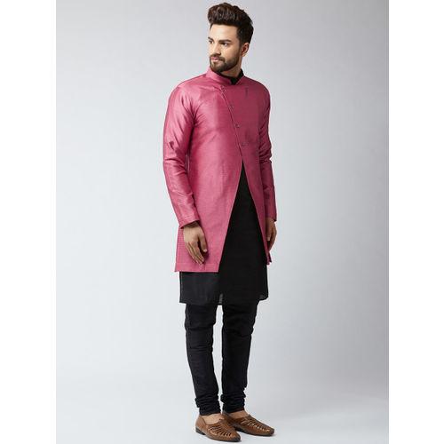 SOJANYA DEYAAN Men Pink & Black Silk Blend Self-Design Sherwani With Achkan