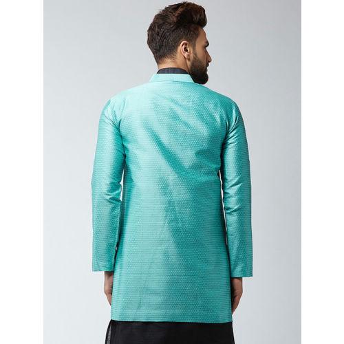 Sojanya Men Turquoise Blue Woven Design Sherwani Waistcoat