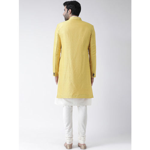 KISAH Men Yellow & White Silk Solid Sherwani Churidar Set