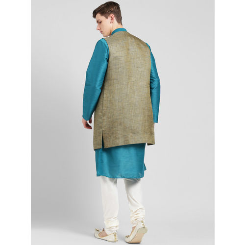 KISAH Men Beige, Blue & Off-White Sherwani Set