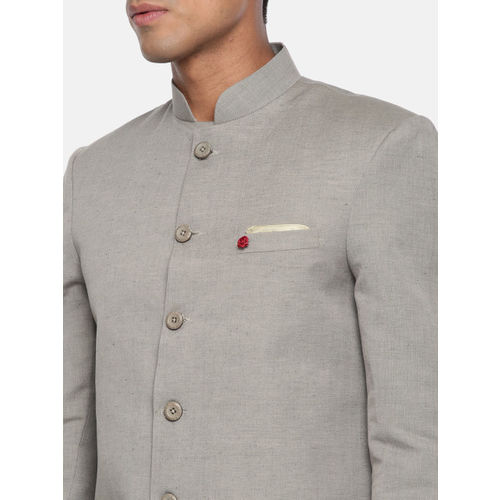 The Indian Garage Co Men Solid Grey & White Sherwani