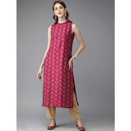 Anouk Women Magenta Pink Printed Straight Kurta