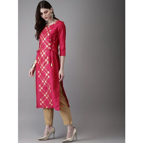 Anouk Women Pink Foil Printed Straight Kurta