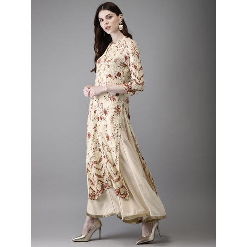 Anouk Women Cream-Coloured & Gold Foil Printed Straight Kurta