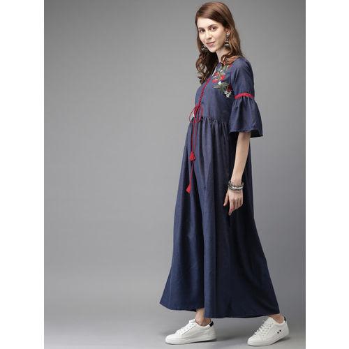 Anouk Women Navy Blue Yoke Design A-Line Fusion Kurta
