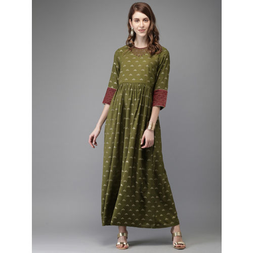 Anouk Women Olive Green Foil Print A-Line Kurta with Embroidered Detail