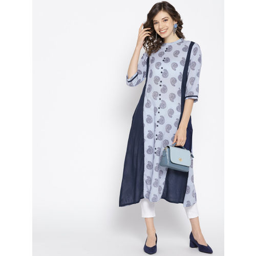 HERE&NOW Women Blue Printed A-Line Kurta