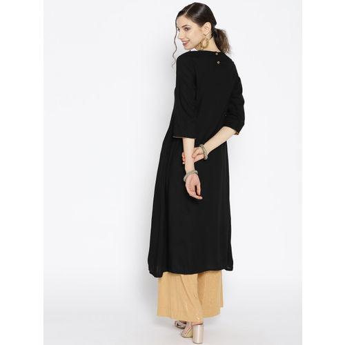 HERE&NOW Women Black & Golden Yoke Design A-Line Kurta