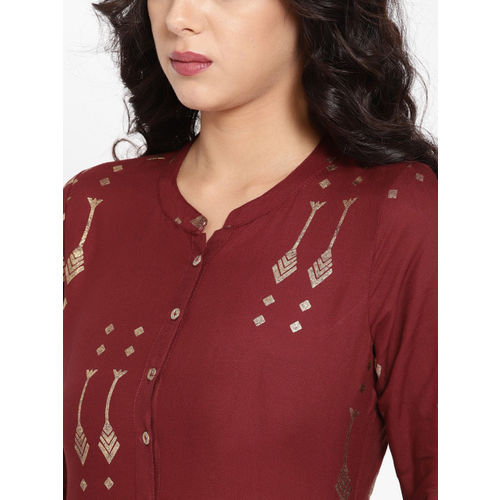 HERE&NOW Women Maroon & Golden Printed Straight Kurta