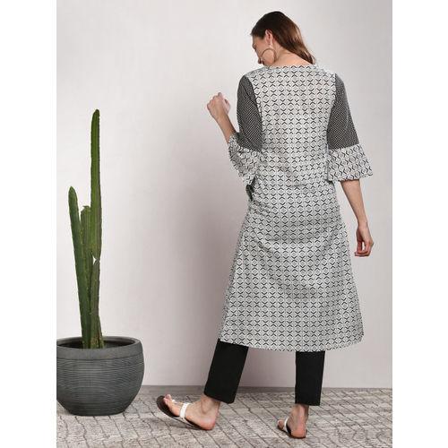 Sangria Women Black & Grey Printed Straight Kurta