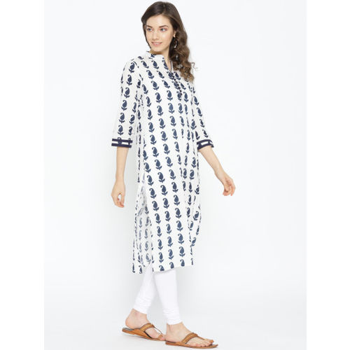 Sangria Women Off-White & Navy Printed Straight Kurta