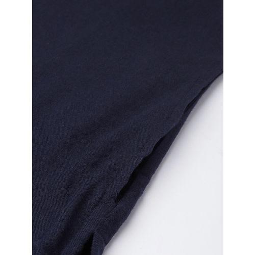 Sangria Women Navy Blue Solid Straight Kurta