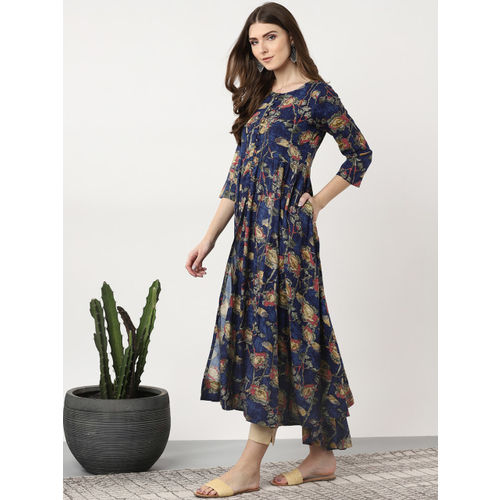 Sangria Women Navy Blue & Green Printed High-Slit Anarkali Kurta