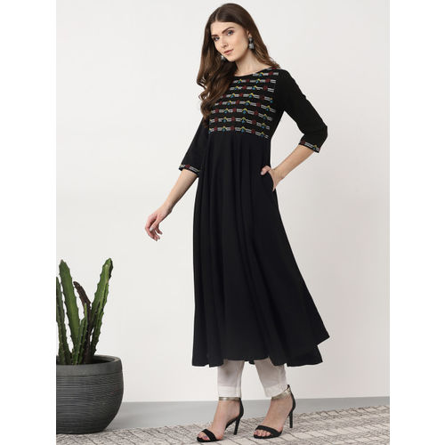 Sangria Women Black & White Yoke Design Anarkali Kurta