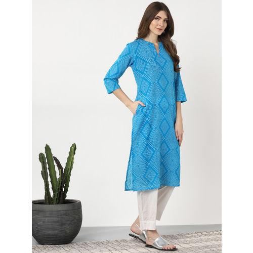 Sangria Women Blue & White Bandhani Printed Straight Kurta