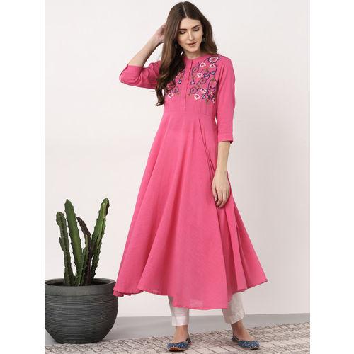 Sangria Women Pink Yoke Design Anarkali Kurta