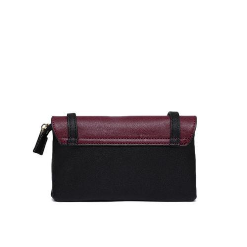 Allen Solly Black & Purple Colourblocked Sling Bag