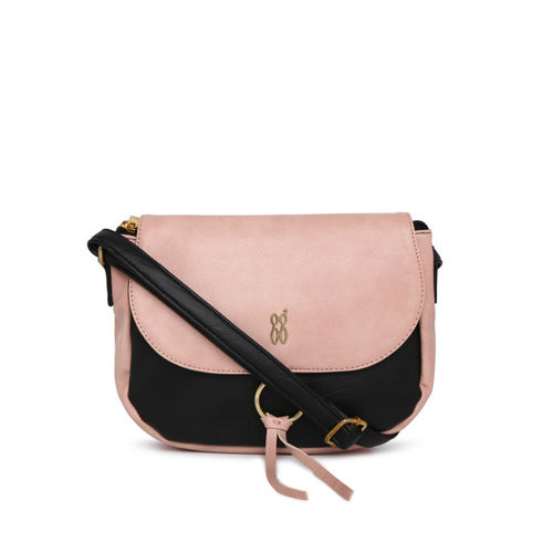 Baggit Black & Pink Colourblocked Sling Bag