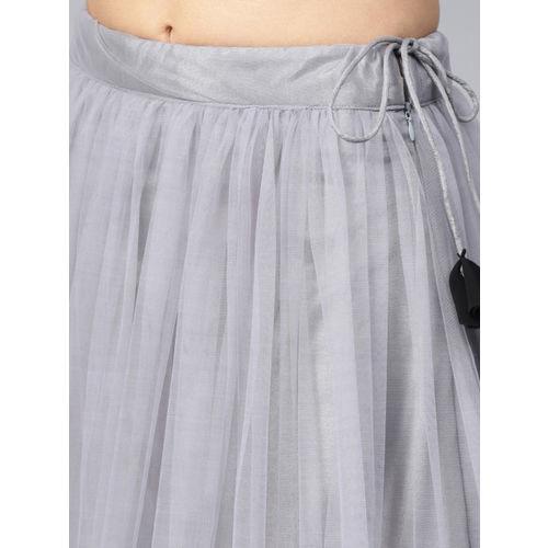 Inddus Black & Grey Semi Stitched Lehenga Choli Set