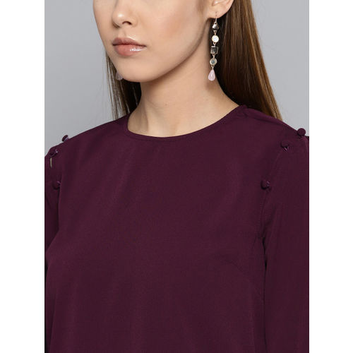 Harpa Women Burgundy Solid Top