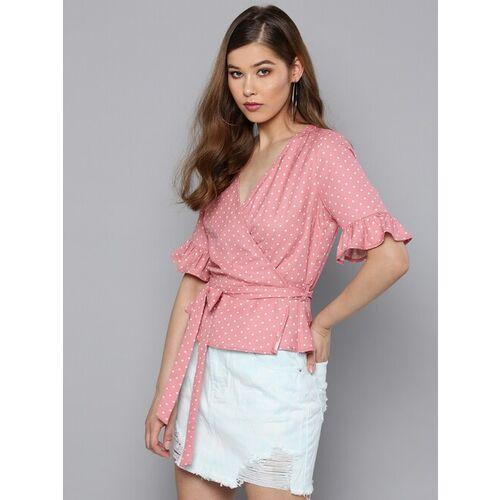 Harpa Women Pink Printed Wrap Top