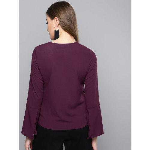 Harpa Women Aubergine Solid Top