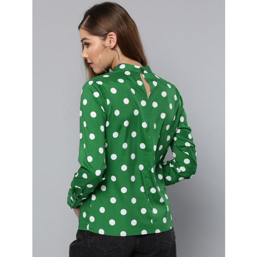 Harpa Women Green & White Printed Top